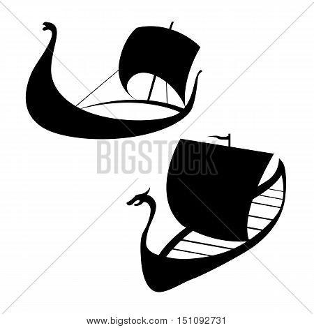 Viking ship icon. Longship. Isolated on white. Vector illustration
