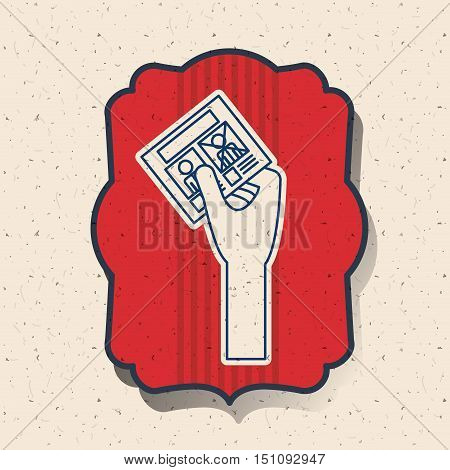 Card inside frame icon. Vote election nation and government theme. Silhouette design. Vector illustration