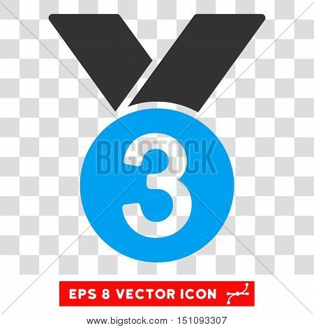 Vector Bronze Medal EPS vector icon. Illustration style is flat iconic bicolor blue and gray symbol on a transparent background.