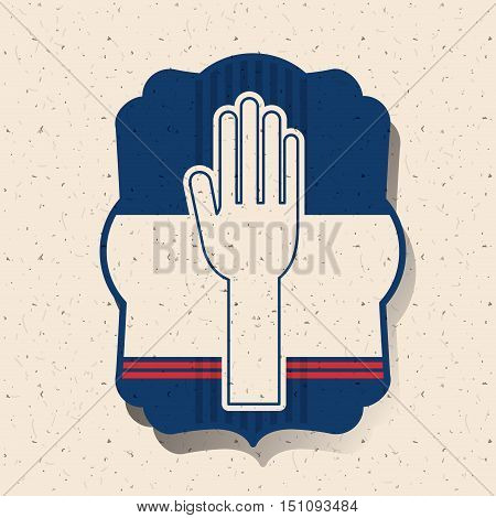 Human hand inside frame icon. Vote election nation and government theme. Silhouette design. Vector illustration