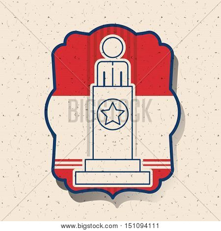 President inside frame icon. Vote election nation and government theme. Silhouette design. Vector illustration