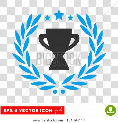 Vector Glory Cup Laurel Wreath EPS vector icon. Illustration style is flat iconic bicolor blue and gray symbol on a transparent background.