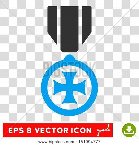 Vector Maltese Cross EPS vector pictogram. Illustration style is flat iconic bicolor blue and gray symbol on a transparent background.