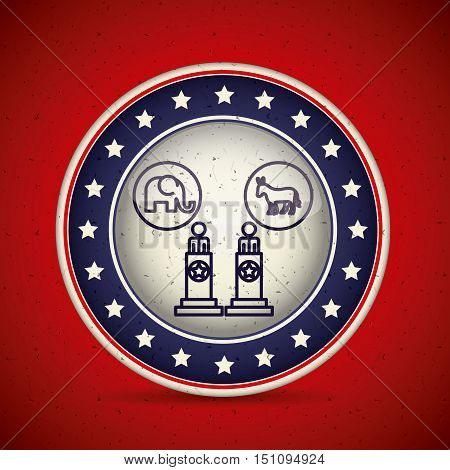 Presidents elephant and donkey inside button icon. Vote election nation and government theme. Silhouette design. Vector illustration