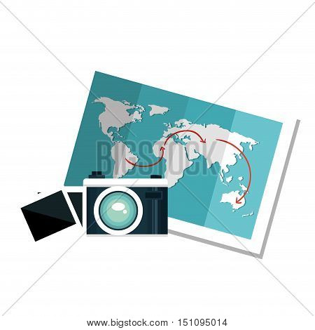 photographic camera device and world map icon over white background. vector illustration