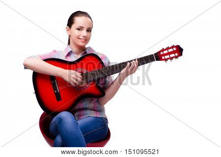 Young woman with guitar isolated on white