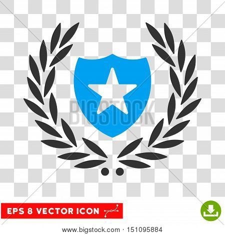 Vector Shield Laurel Wreath EPS vector icon. Illustration style is flat iconic bicolor blue and gray symbol on a transparent background.