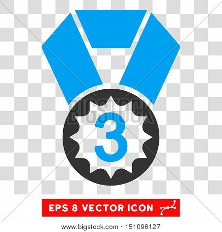 Vector Third Place EPS vector pictogram. Illustration style is flat iconic bicolor blue and gray symbol on a transparent background.