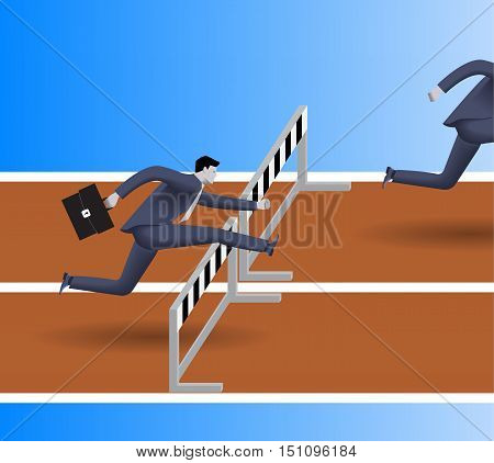 Breath in the back business concept. Confident businessman in business suit with case jumps over the obstacle. His opponent just a couple steps before him and will be beaten soon. Competition concept