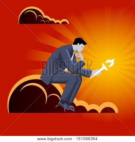 Burden of leadership business concept. Pensive businessman in business suit with burning torch in his hand sitting on the cloud and watching on the torch. Burden of choice.