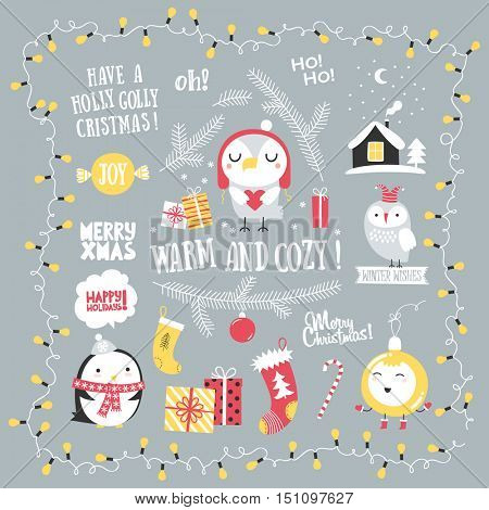 Christmas greeting set. Merry Christmas lettering. Design elements