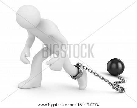 Man with chain ball This is a 3d rendered computer generated image. Isolated on white.