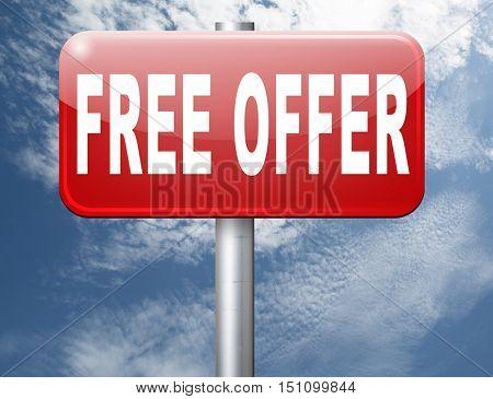 free offer online bargain gratis download online internet web shop, road sign billboard. 3D illustration