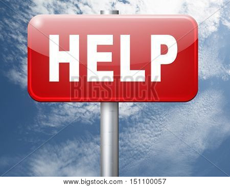 help search find assistance and helping hand, support or help desk online support help road sign, billboard.  3D illustration