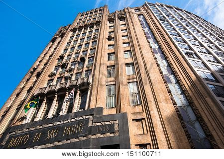 Sao Paulo, Brazil - June 26, 2016: The Bank of Sao Paulo building was completed in 1938 and is one of the most luxurious buildings of the city.
