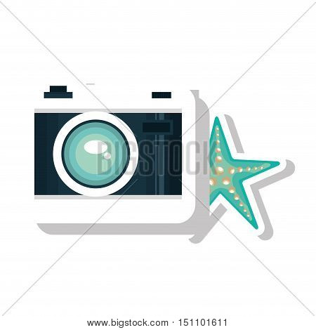 photographic camera device and blue seastar icon over white background. vector illustration