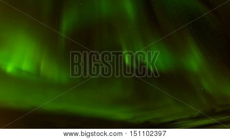 A beautiful green Aurora borealis or northern lights at Tromso Norway