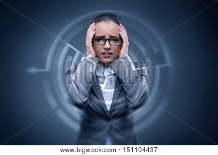 Sad businesswoman lost in maze