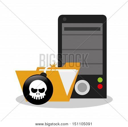 File and bomb icon. Security system cyber and data theme. Colorful design. Vector illustration