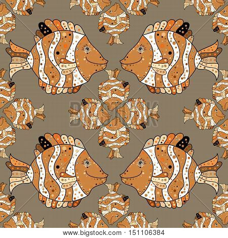 a seamless pattern with fish. Brown. Beige. Vector.