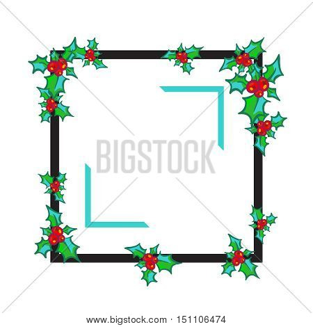Sprig of Holly on black frame, isolated on white background. Vector hand drawn design element for greeting card, poster, flyer, ads. Holly with berry. Christmas and New Year bright clip-art