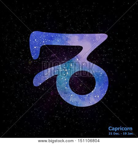 Watercolor Sign Of The Zodiac Capricorn On Star Space Background.