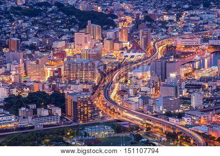 Sasebo downtown skyline at night Nagasaki Japan