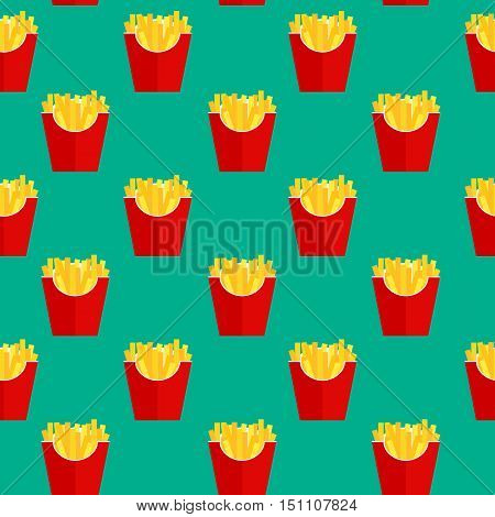 Fast Food Fried French Gold Fries Potatoes in Paper Wrapper Seamless Pattern Background. Vector illustration EPS10
