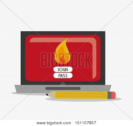 Laptop and password icon. Security system cyber and data theme. Colorful design. Vector illustration