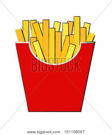 Fast Food Fried French Gold Fries Potatoes in Paper Wrapper Isolated on White Background. Vector illustration EPS10