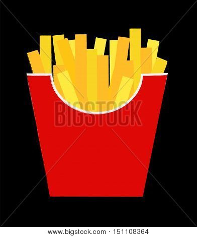 Fast Food Fried French Gold Fries Potatoes in Paper Wrapper Isolated on Black Background. Vector illustration  EPS10