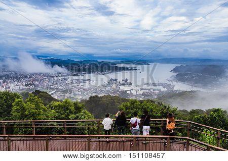 Sasebo City View From Yumihari Overlook, Nagasaki, Japan.