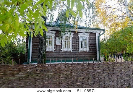 Very native wooden village house facade of famous Russian poet Sergei Yesenin in Konstantinovo where Sergei Esenin was born and lived together with his family in childhood, Ryazan region, Russia. Many of his poem were written about this place and people a