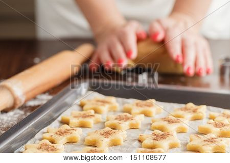 Baking Cookies For Christmas. Cookies On Baking Sheet.