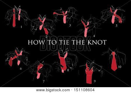 Vector illustration of Instructions, Scheme, Brochure for How to tie knot on black background. Hand drawn graphic design.