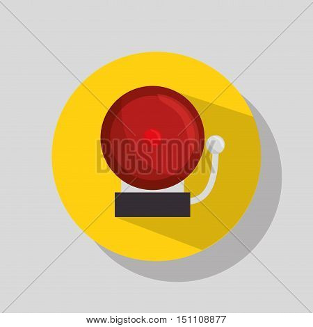 Red ring alarm bell in retro style over yellow circle. vector illustration