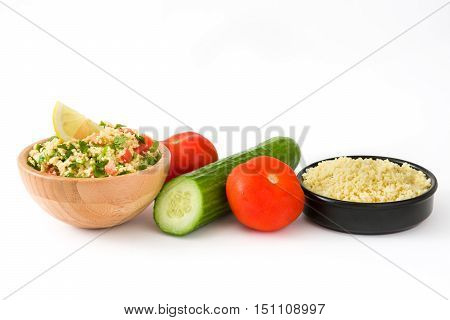 Tabbouleh salad with couscous and vegetables isolated