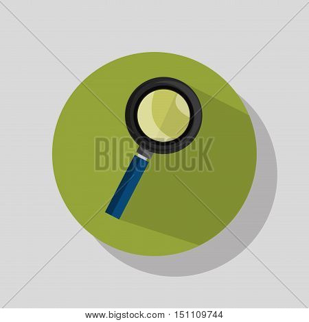 magnifying glass tool icon over green circle. vector illustration