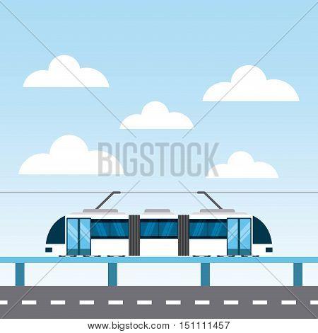 tram service public icon vector illustration design