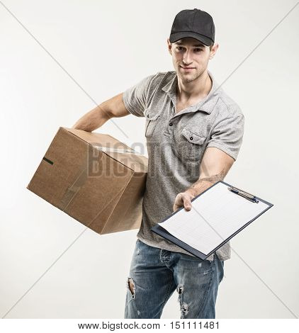 Courier hands of boxes packages on beige