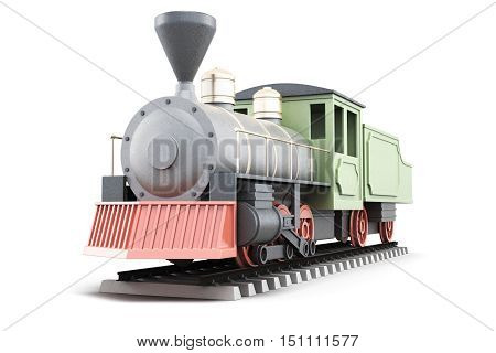 Model Of Old Steam Locomotive Isolated On White Background. 3D Rendering