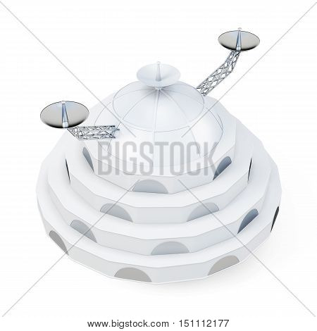 Space Station Isolated On White Background. 3D Rendering
