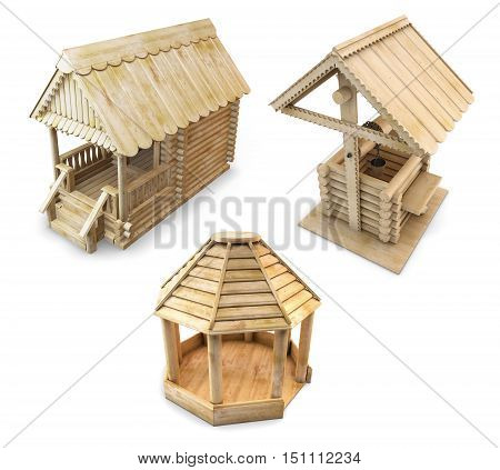 Wooden House, Gazebo And Well Isolated. 3D Rendering