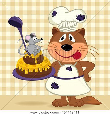 cat chef prepare cake  - vector  illustration, eps