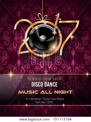 2017 Disco Club New Year Background for your Seasonal Flyers and Greetings Card or Christmas themed invitations.