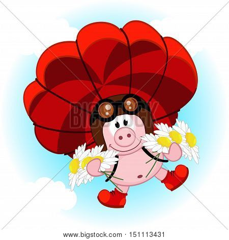 pig on a parachute with daisies  - vector  illustration, eps