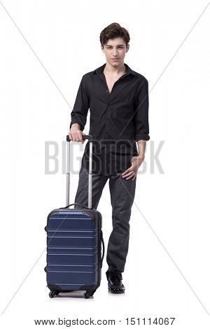 Young man in travel concept isolated on white