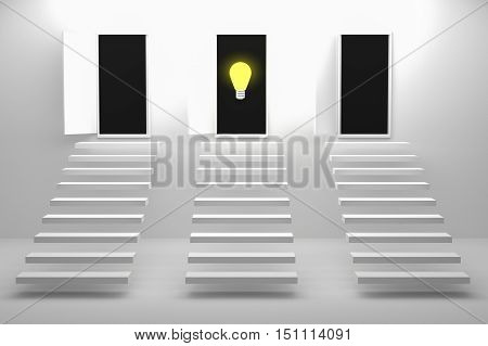 3D Rendering : illustration of three stair or steps up to the door against white wall and floor,Opened door to blue sky and stair in white room with shadow,choose best choice,choose the correct way,business success concept