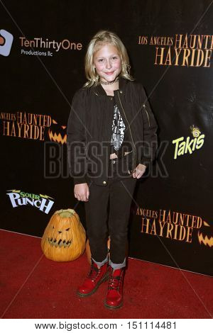 LOS ANGELES - OCT 9:  Alyvia Alyn Lind at the Haunted Hayride 8th Annual VIP Black Carpet Event at the Griffith Park on October 9, 2016 in Los Angeles, CA