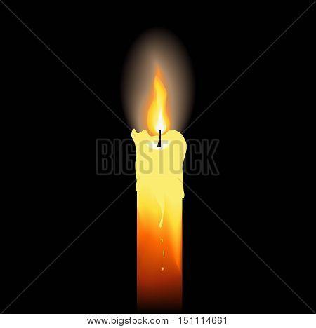 Burning candle on black background. Vector illustration.